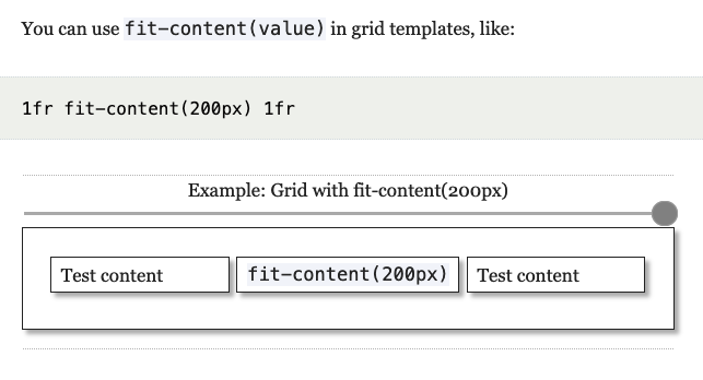 Interactive widget showing how fit-content() works in CSS grid.