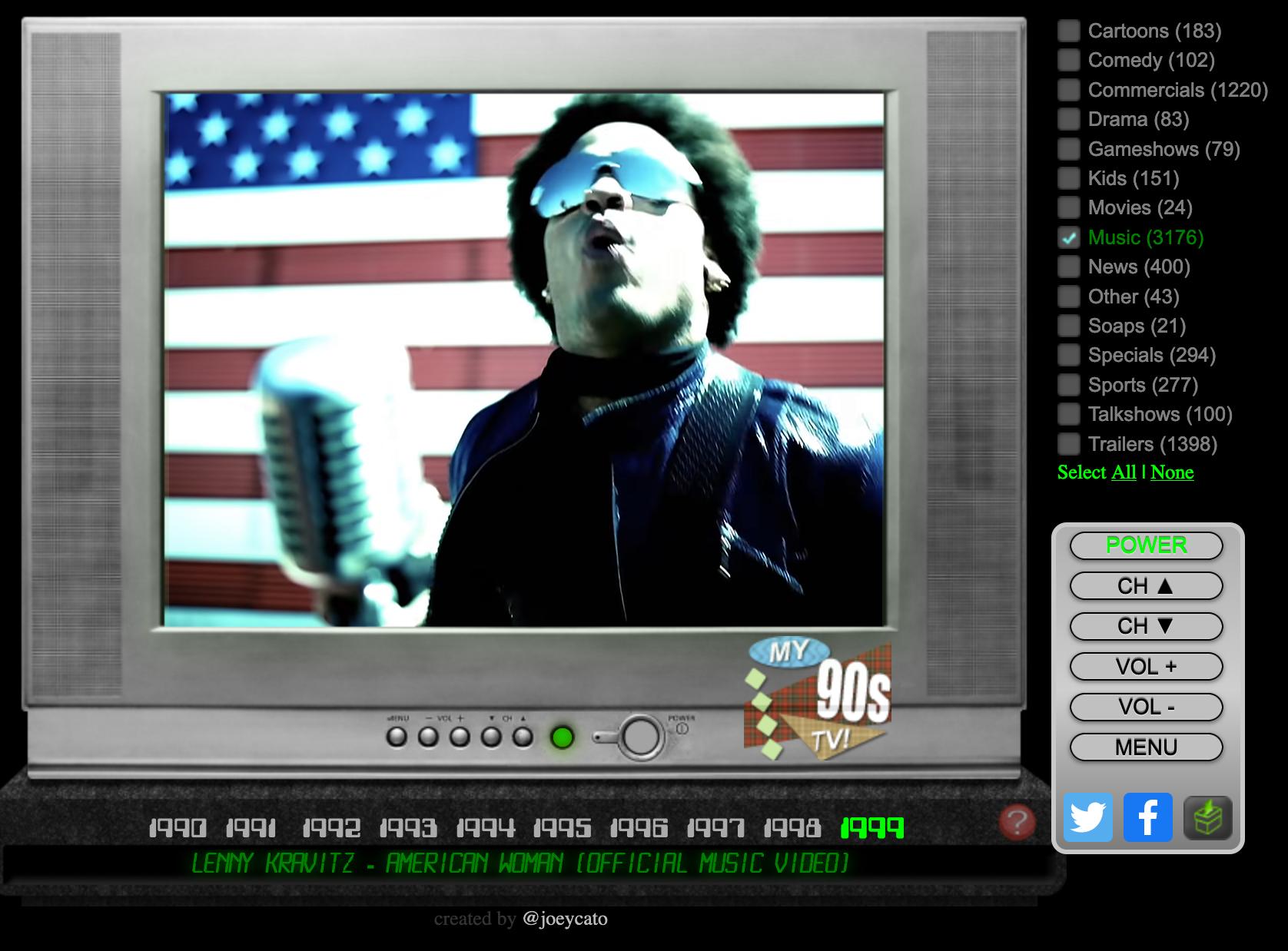 My 90ies Tv showing Lenny Kravitz