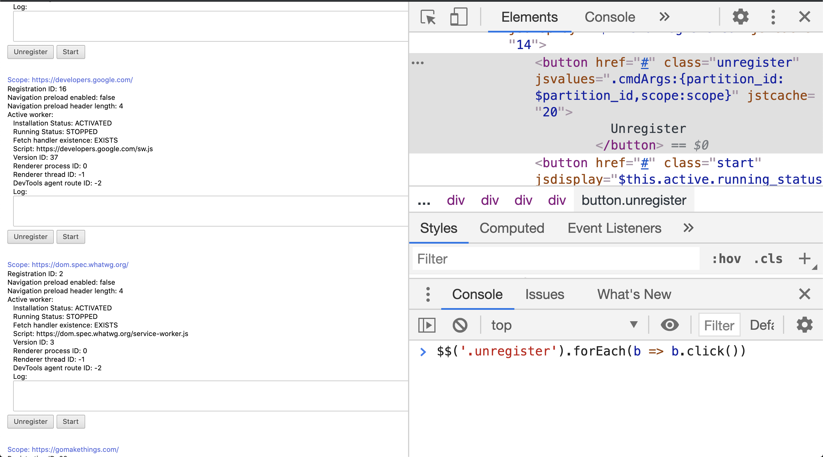Overview page of chrome://serviceworker-internals/ with open JS Console