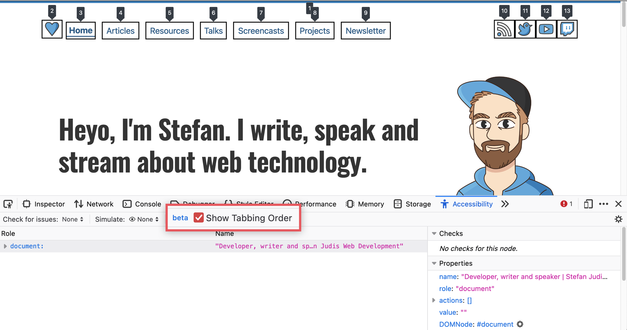 """Firefox DevTools with an Open Accessibility panel that includes the """"Show Tabbing Order"""" checkbox"""