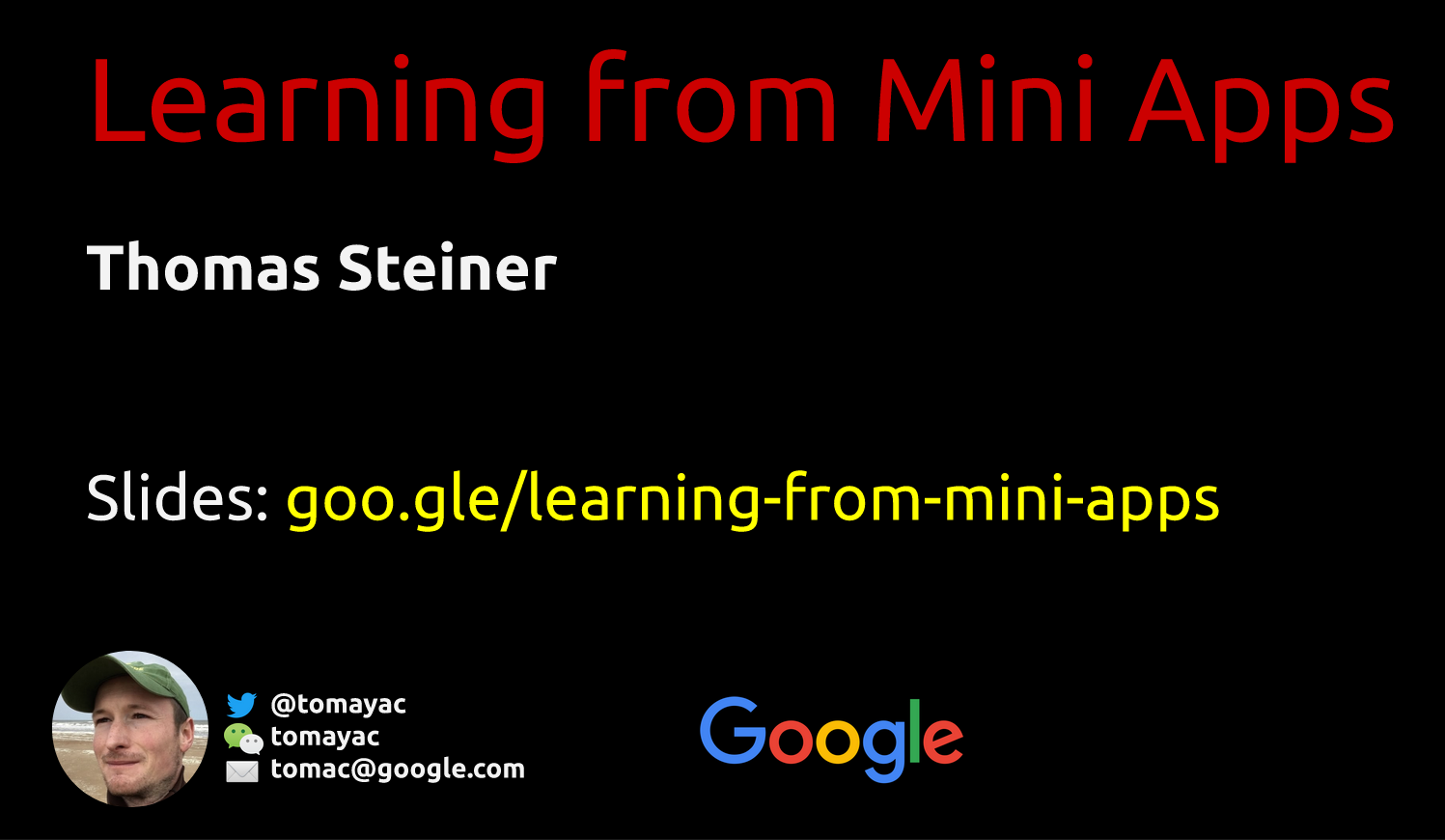 Cover slides: Learning from Mini Apps by Thomas Steiner