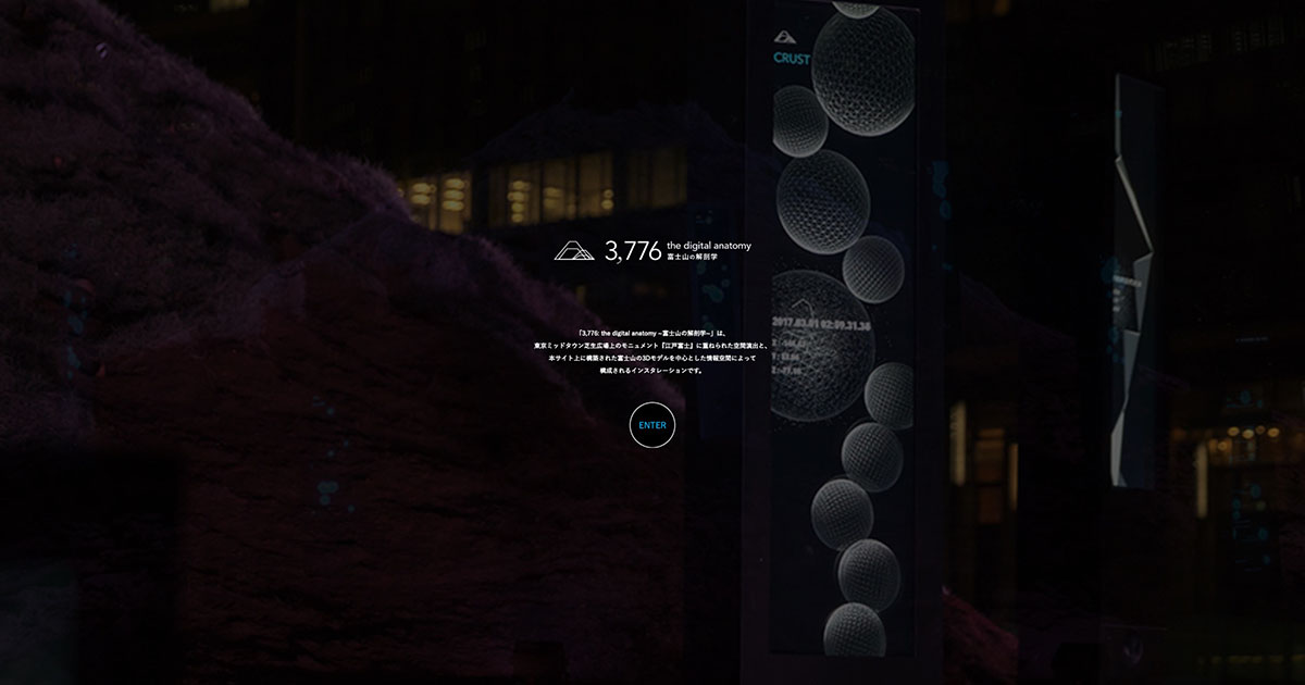 Rhizomatiks Architecture - 3,776 : the digital anatomy ~富士山の解剖学~特設サイト