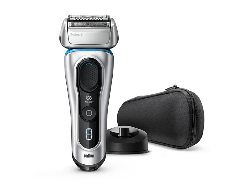 Series 8 8350s Wet & Dry shaver with charging stand and travel case, silver