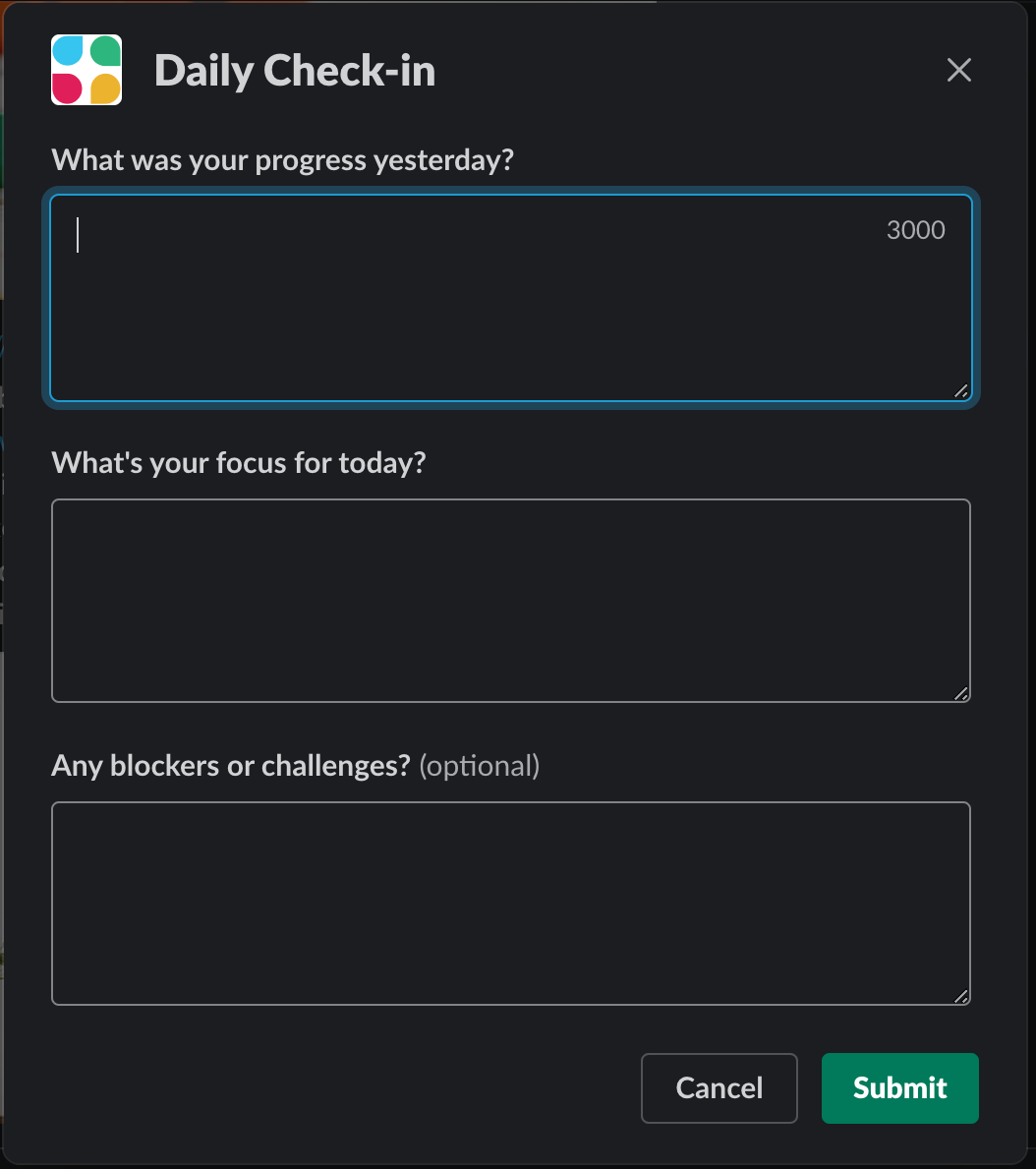 slack workflow builder daily check in