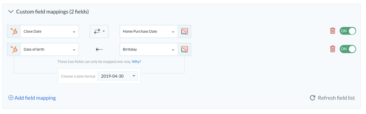 HS Outboundengine custom field mapping