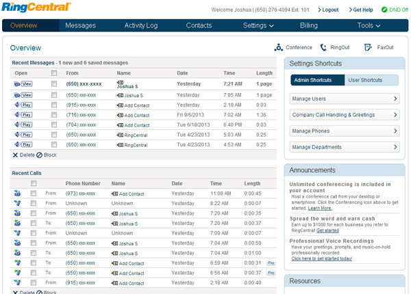 Image result for ringcentral dashboard