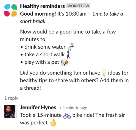Slack automated workflow for working from home