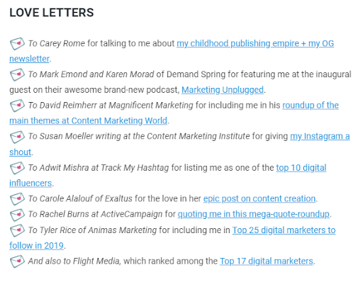 Ann Handley's newsletter as an example of effective email copy that converts