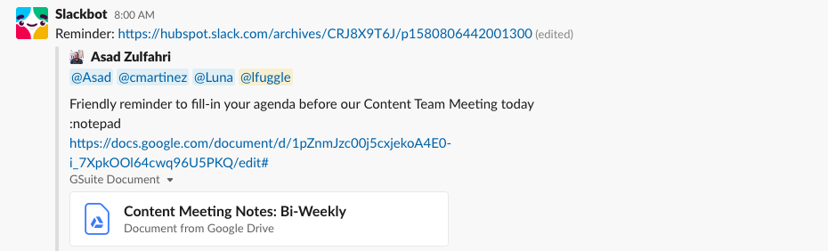 Slack automate meeting prep reminders