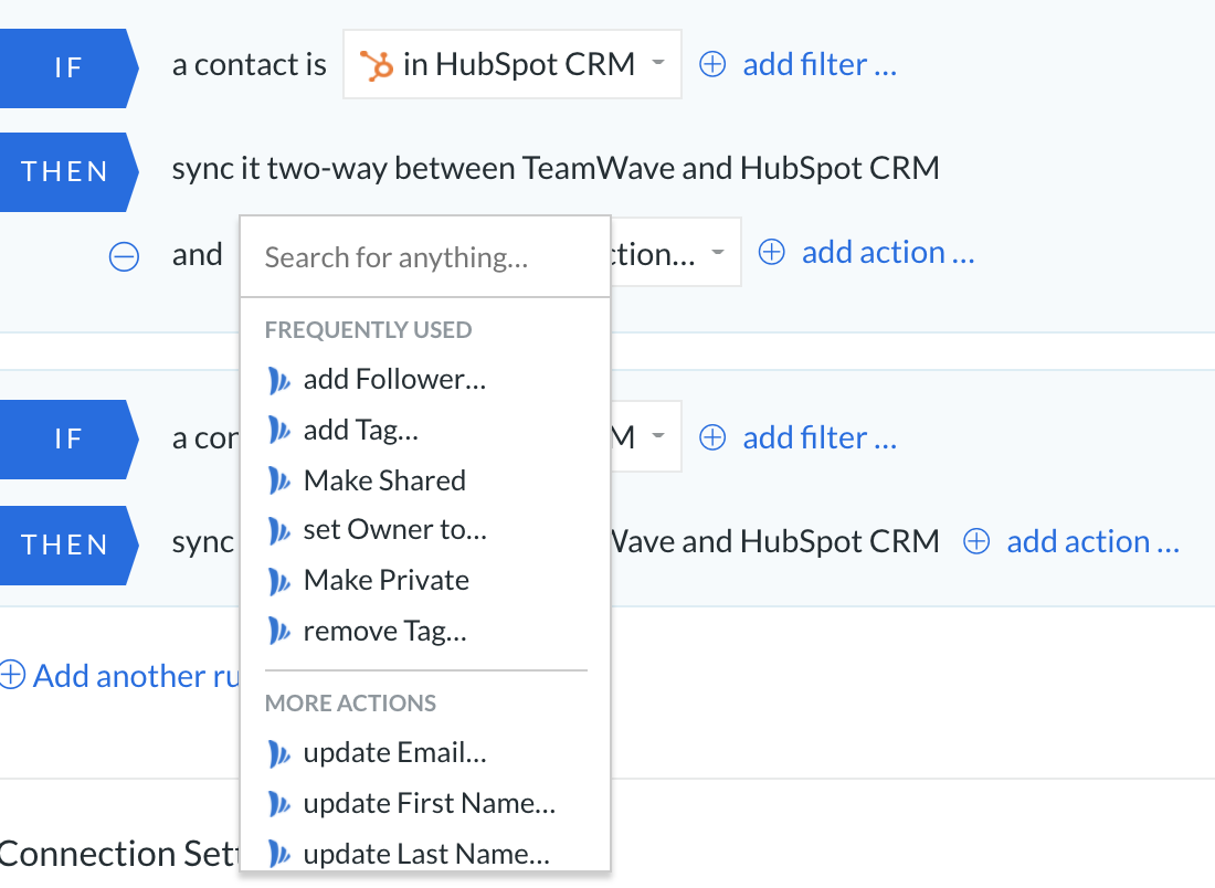 integration hubspot and teamwave