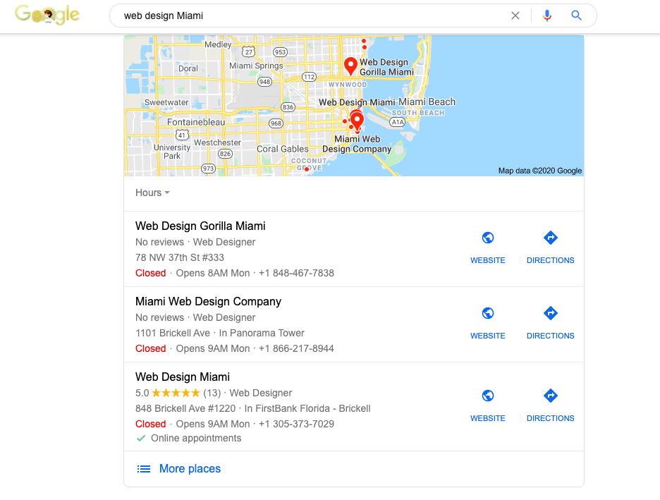 Google places snippet example in search
