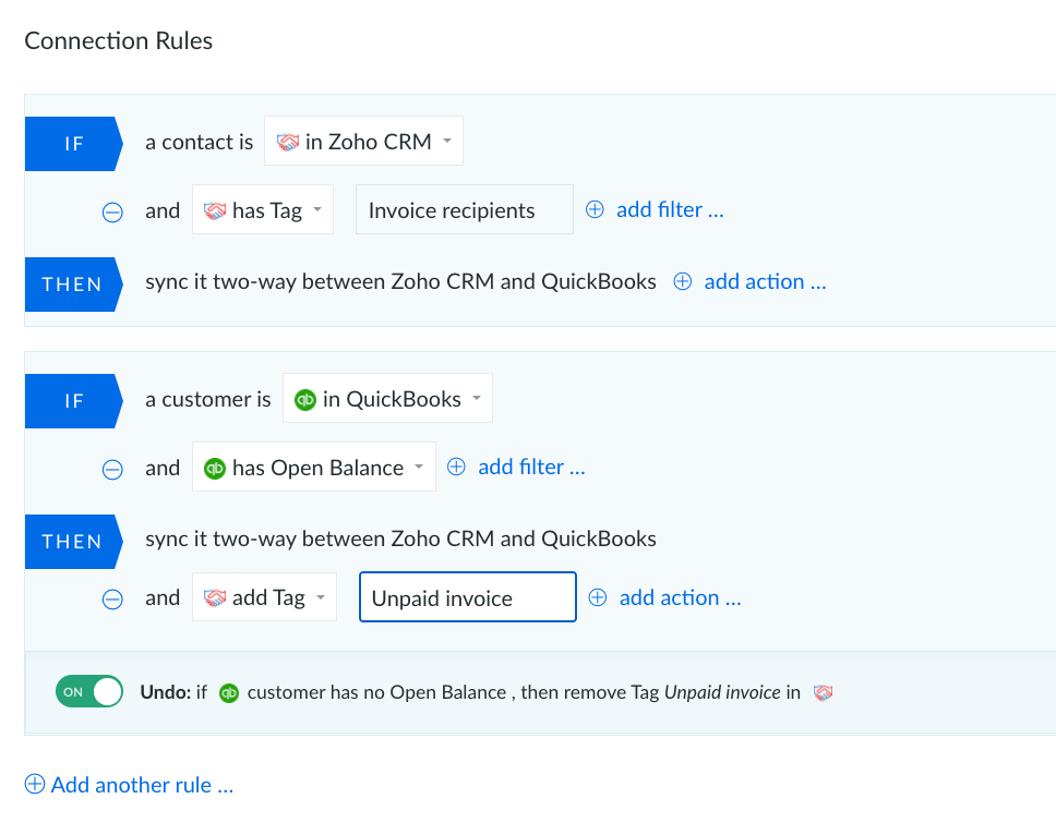 Quickbooks integration with Zoho