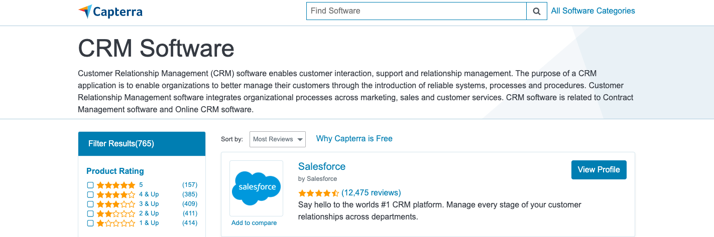capterra crm software