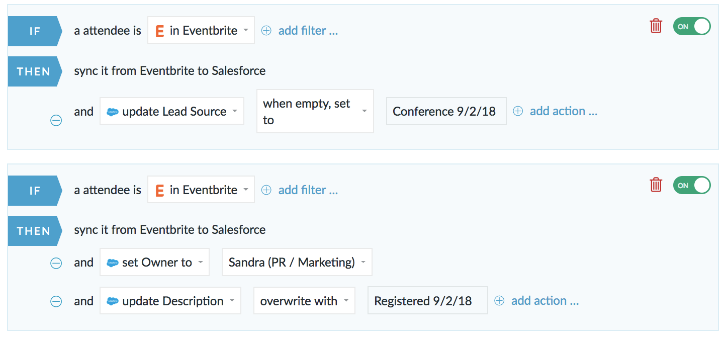 Salesforce eventbrite
