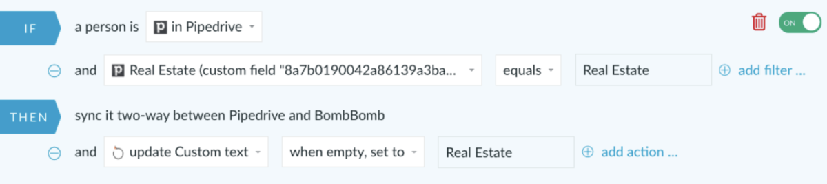 Pipedrive and BombBomb integration via PieSync
