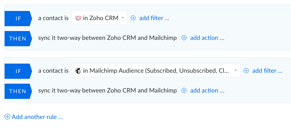 mailchimp integration with zoho