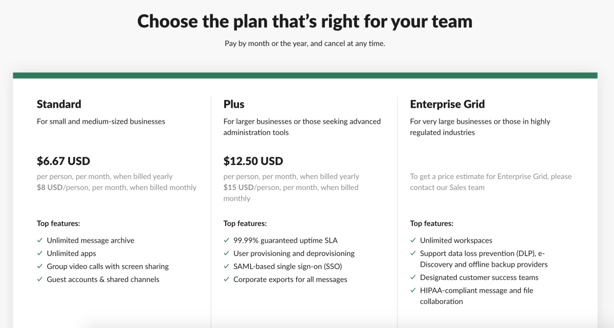 slack plans and pricing