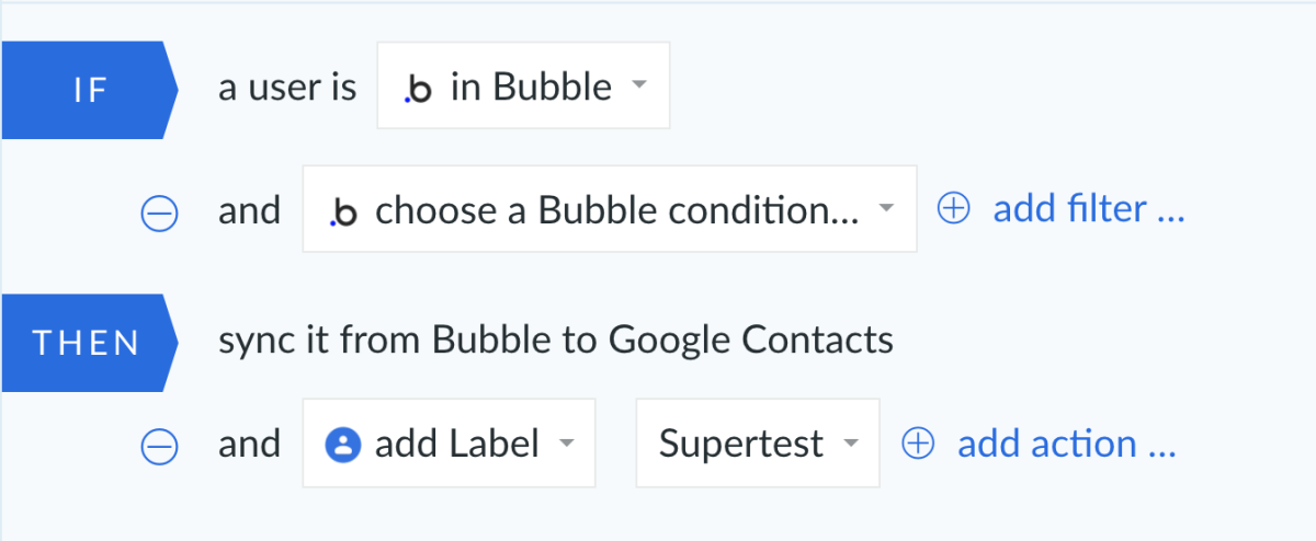 Bubble and Google Contacts integration