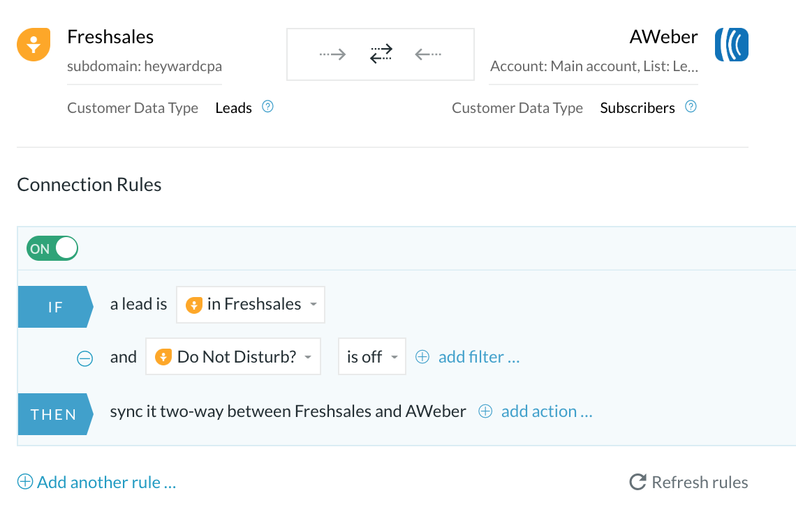 Freshsales aweber integration