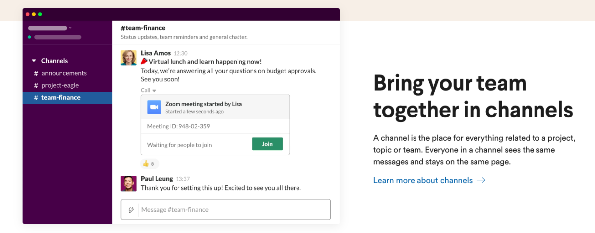Slack for better team collaboration and efficiency
