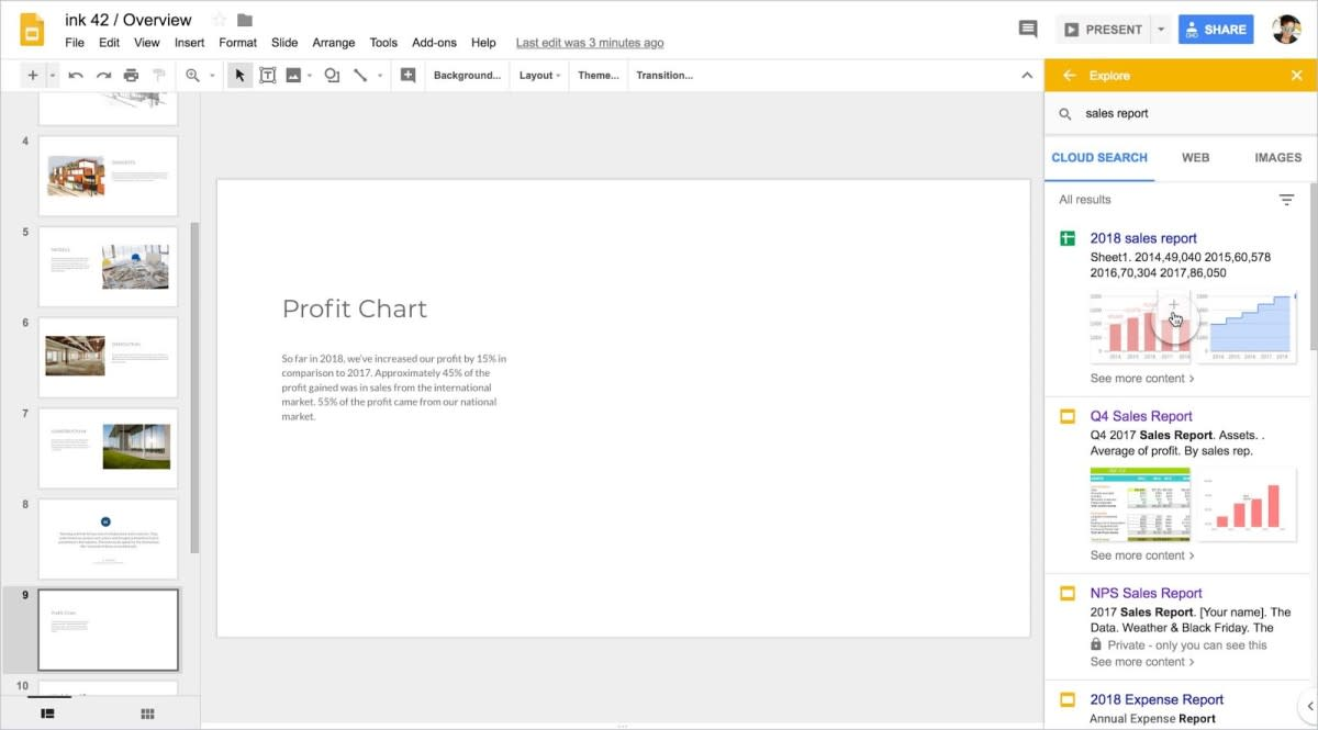 Google sync chart with Slides
