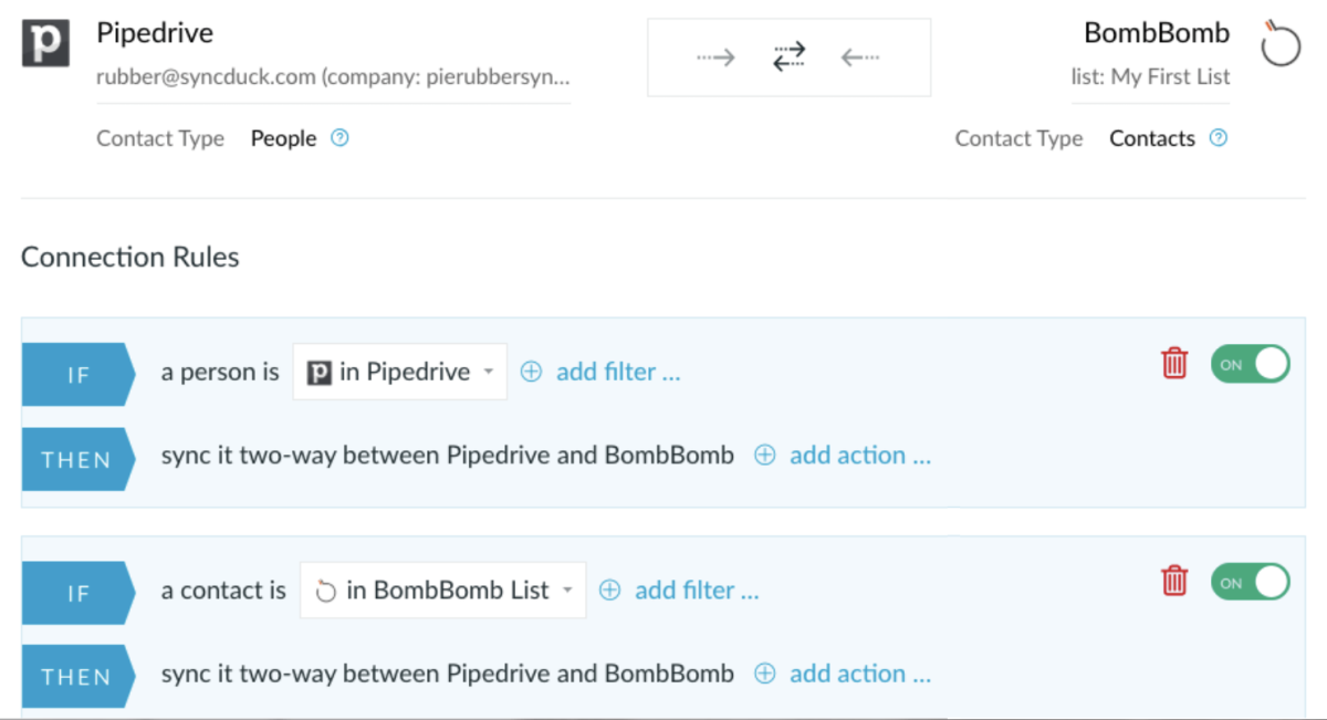 Two way integration between Pipedrive and BombBomb