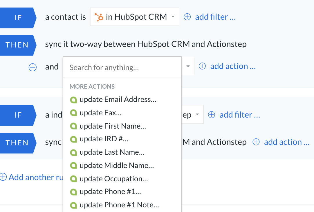 Integration actionstep and hubspot
