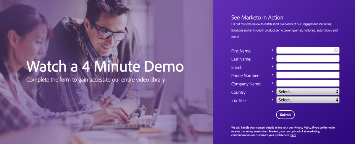 Marketo gated demo video for lead gen