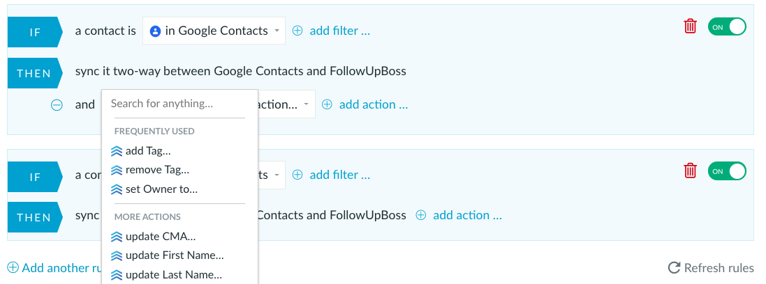 Sync Google Contacts and Follow Up Boss with PieSync