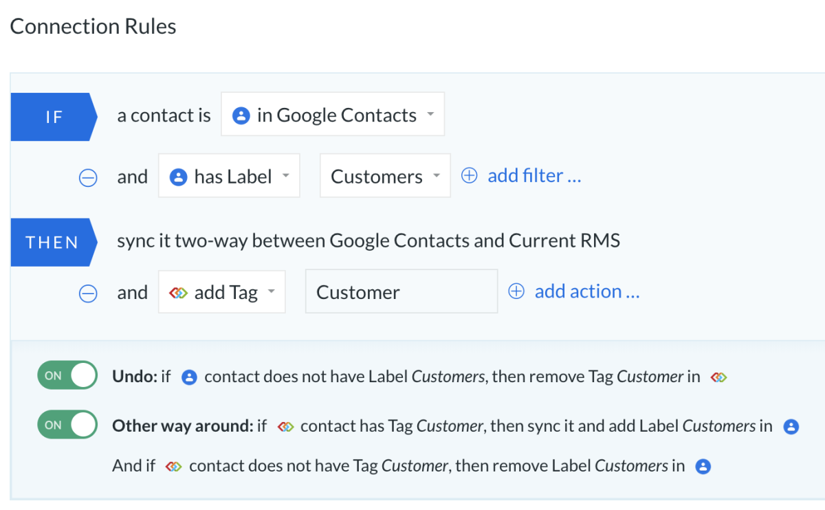 current rms and google contacts