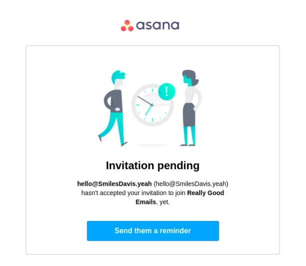 Good example of a reminder email by Asana