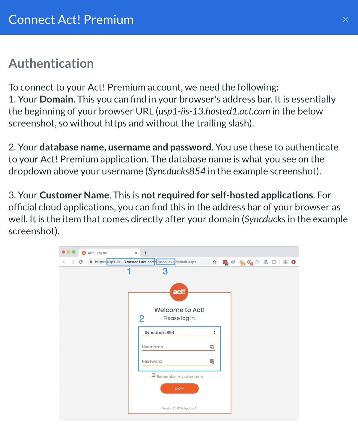 Act authorization popup