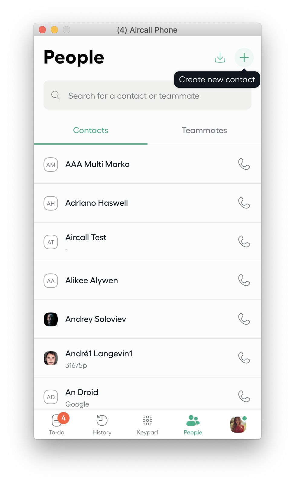 aircall contacts