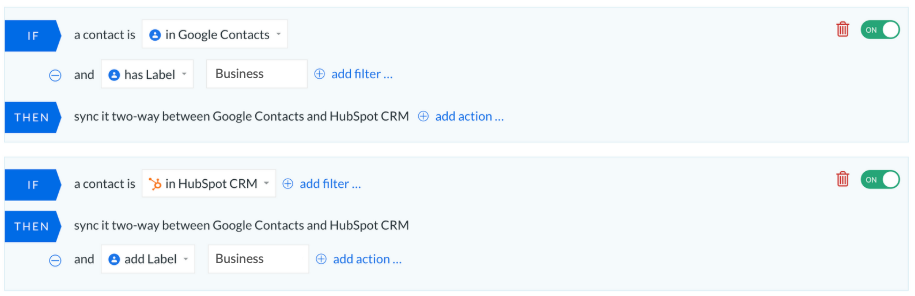 google contacts hubspot crm business label if:then rules piesync