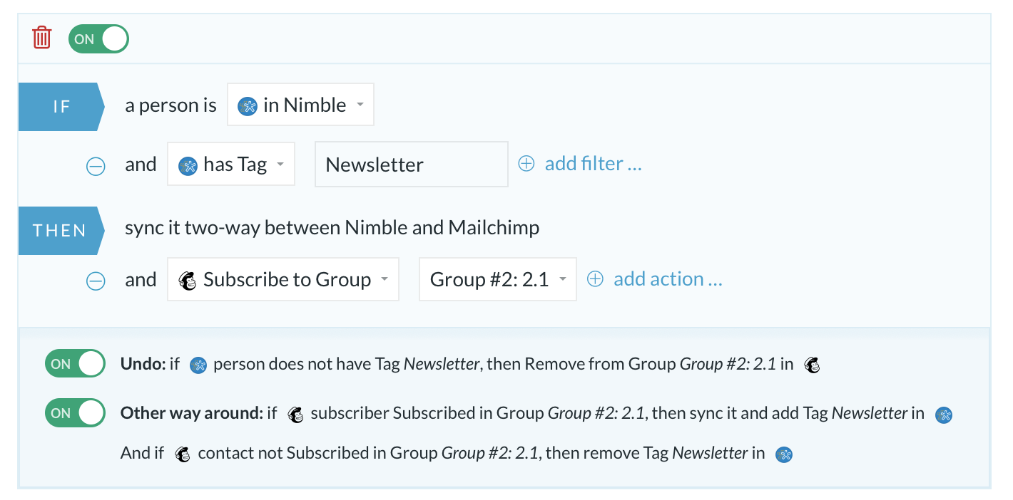 Tag-Groups MailChimp-Nimble
