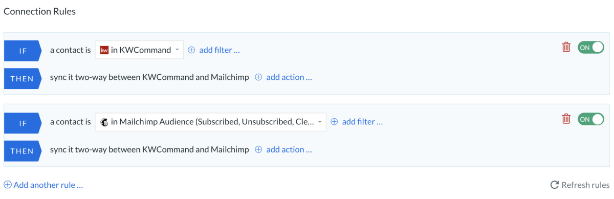 KW Mailchimp all to all rules
