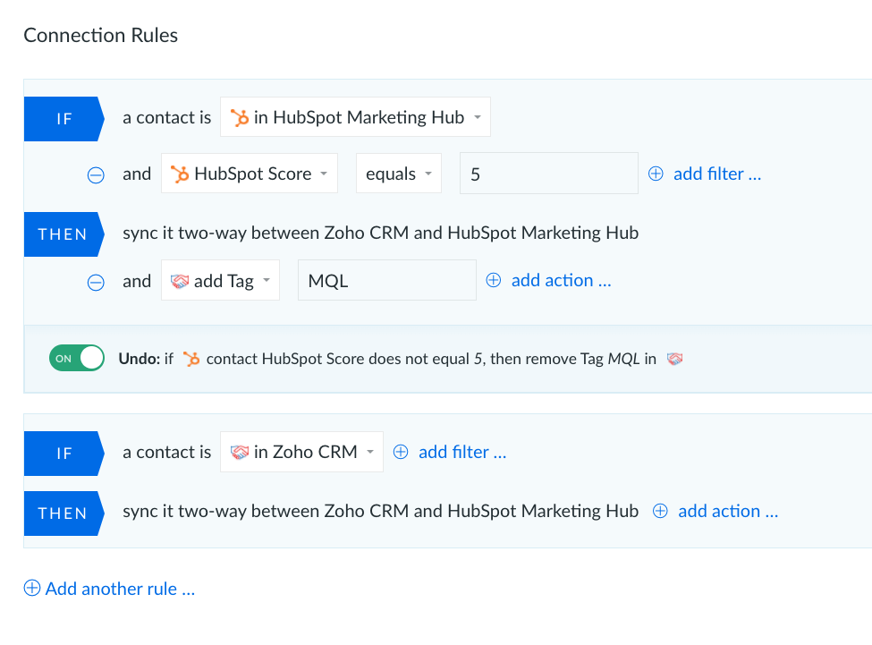 HubSpot and Zoho integration