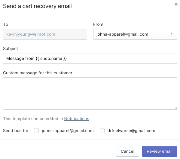 Shopify abandoned cart email