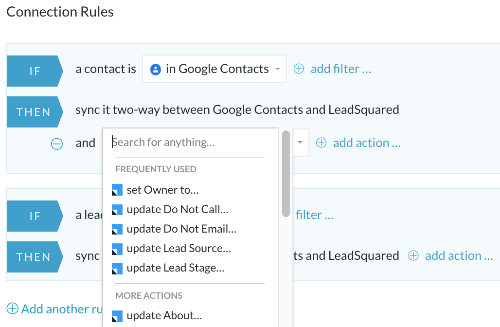 leadsquared google contacts