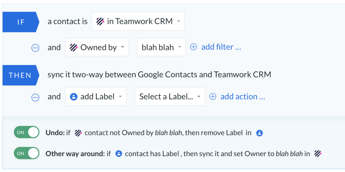 google contacts teamwork crm