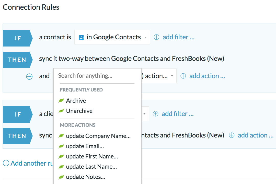 Sync Google Contacts and FreshBooks