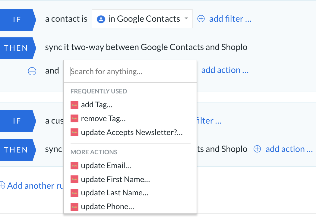 integration between shoplo and google contacts