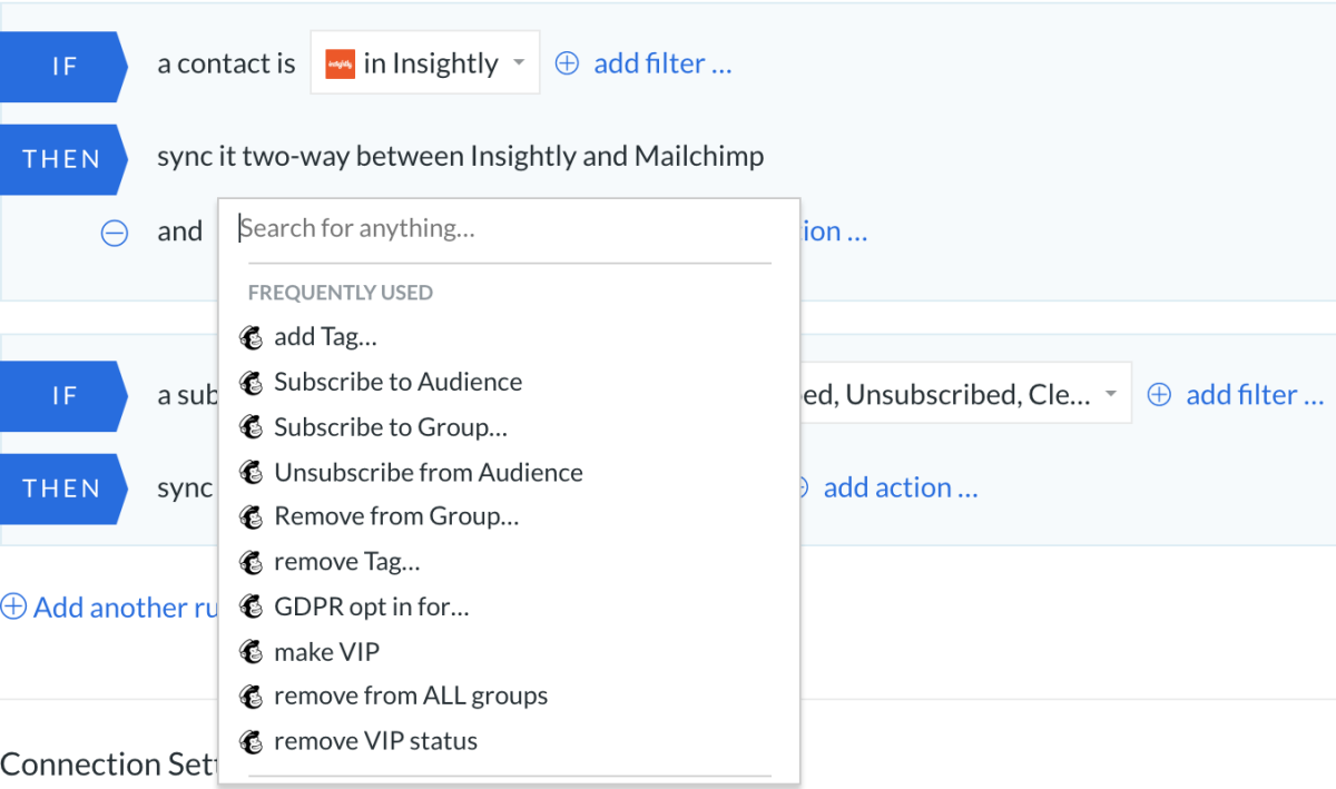 Insightly and Mailchimp sync with PieSync