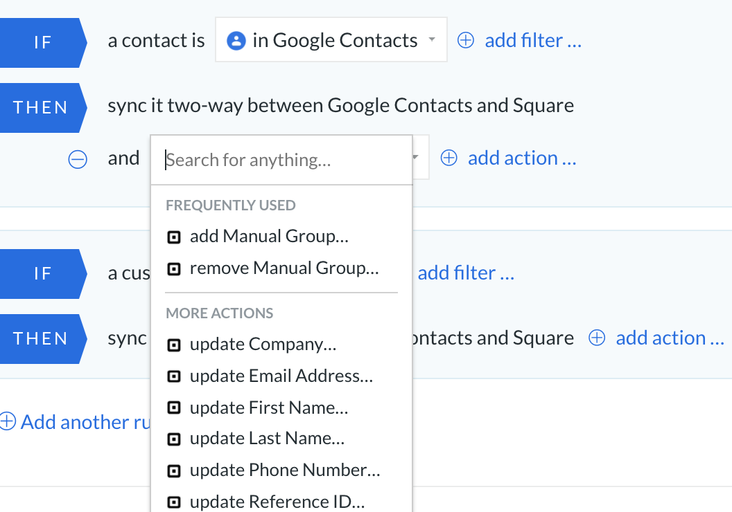 Google contacts square