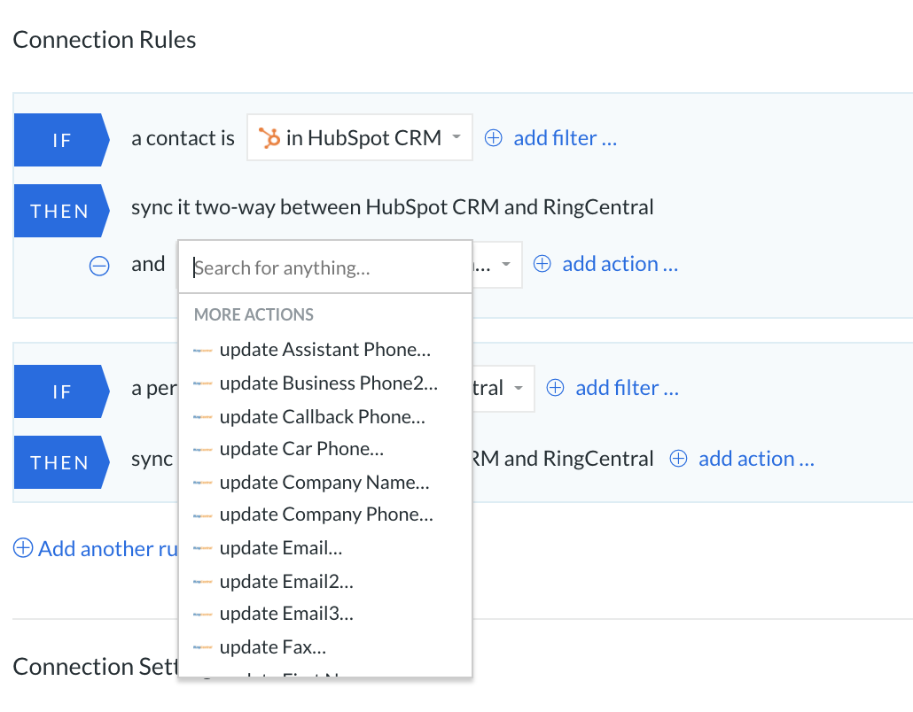 HS Ringcentral update field values