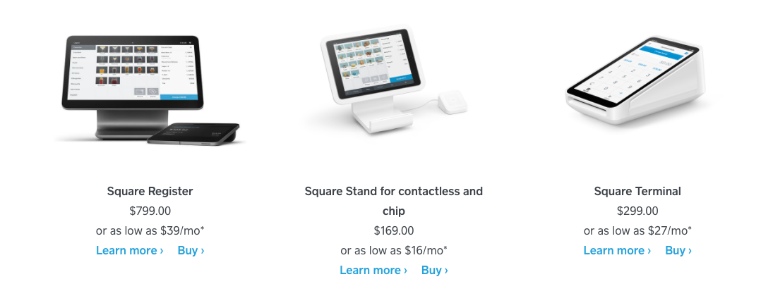 Square hardware for POS payments