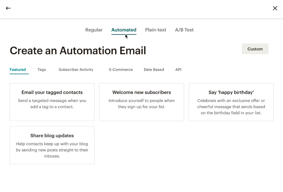 Mailchimp automation functionality