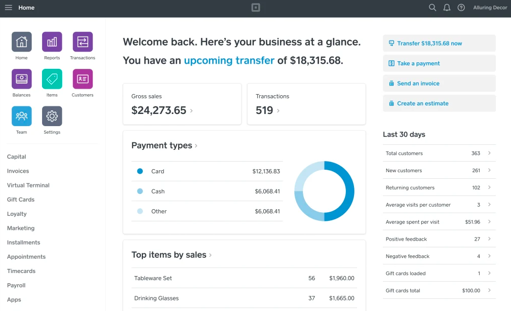 Square online payments and reporting dashboard