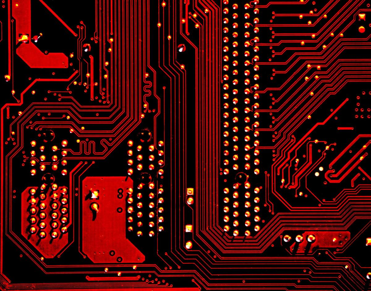 red and black integrated computer circuits