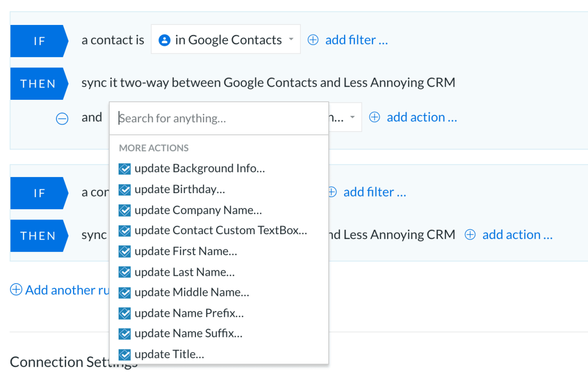 Less Annoying CRM Actions